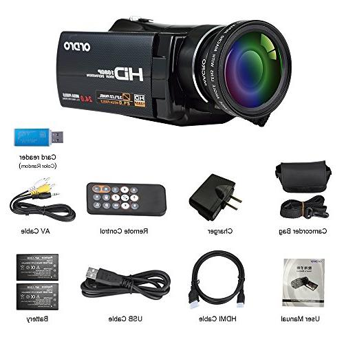 ORDRO Video Camcorder Camera External Wide Angle Lens and Lens Kit