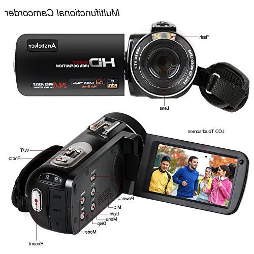 Video Camcorder,Ansteker Remote WiFi Full HD 1080P Video Camcorder Video External Microphone Hood