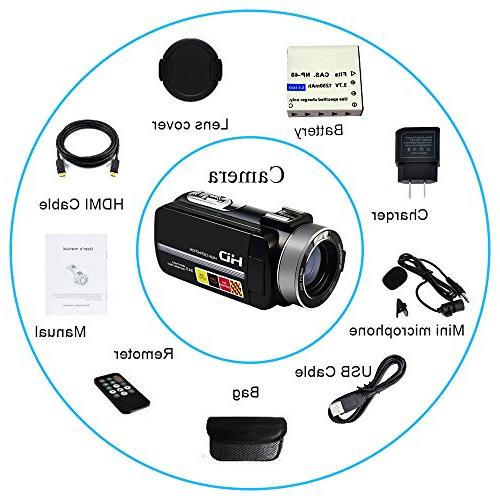 "SEREE Camera External Microphone Input Night Vision Full HD Video Recorder 3.0"" Screen Shoe"