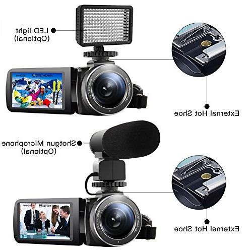 "SEREE Camera Camcorder Microphone Vision Full Digital Video 3.0"" Screen Hot Shoe"