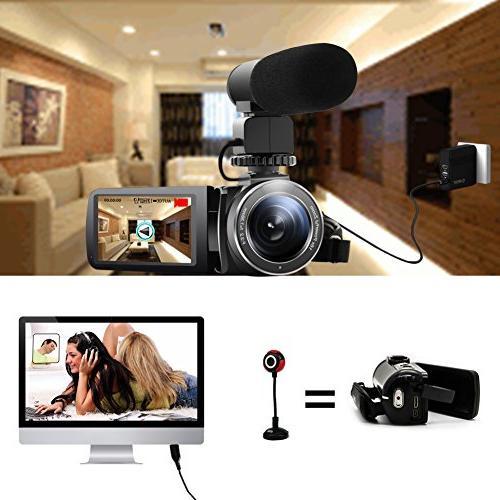 "SEREE Microphone Night Full Video Recorder 3.0"" Screen Hot Shoe"