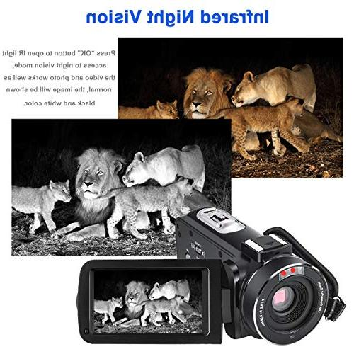 Video Camcorder YouTube Full 1080P Camera 24.0MP Vision Digital Zoom Microphone Angle