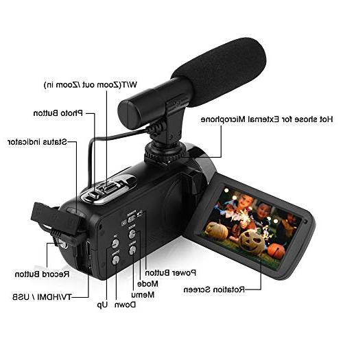 Video Digital Camera Night YouTube Vlogging External Microphone