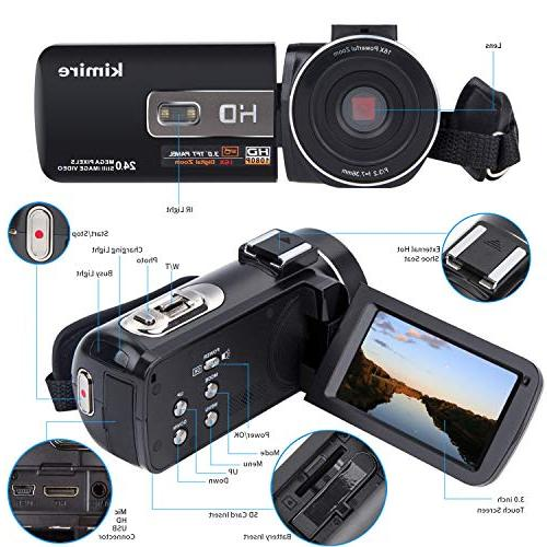 Camera Camcorder Kimire 1080P Powerful Zoom with Microphone Angle Lens 24 Control Infrared