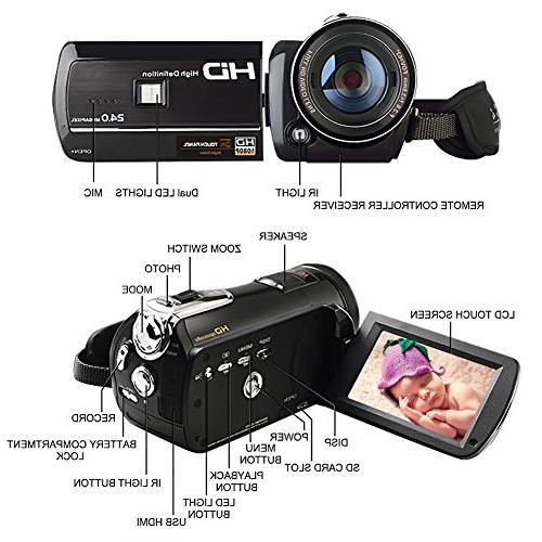 Camcorder Digital Recorder FHD 1080P WiFi Connection Vision LCD Touch Screen