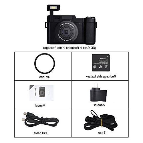 SEREE Camera Camcorder 24.0 Digital Camera Vlog Camera Digital Zoom Retractable Flash Light Inch Vlogging Camera with Lens