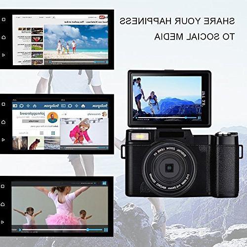 24.0 Megapixels Digital Selfie Camera Vlog Camera Digital Flash Light 3 Vlogging Camera Lens