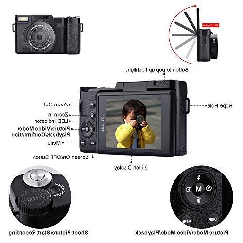 SEREE Camcorder 1080p 24.0 Megapixels Camera Vlog Camera Digital Retractable Light 3 Inch Vlogging Lens