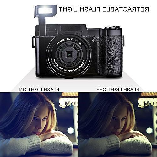 SEREE Camera Camcorder 24.0 Camera Digital Zoom Retractable Light Inch Vlogging Camera UV Lens