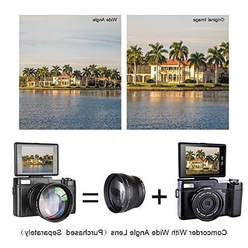 SEREE 1080p Camera Vlog Camera Digital Zoom Flash Light 3 Inch Vlogging Camera UV Lens