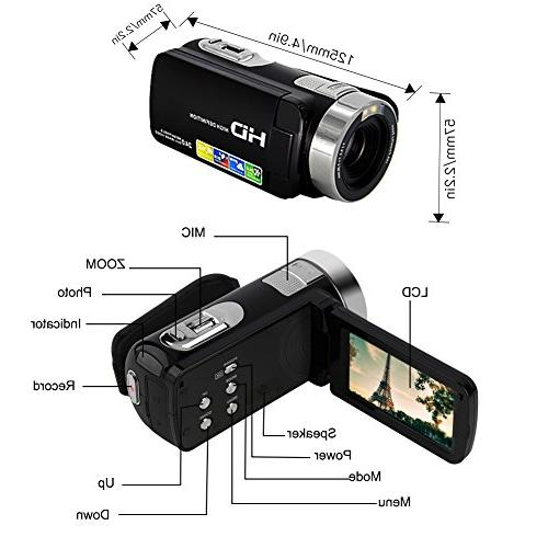 Camcorder Camera Full HD 1080p Camera Inch Degree Rotatable Screen Video Recorder Function…