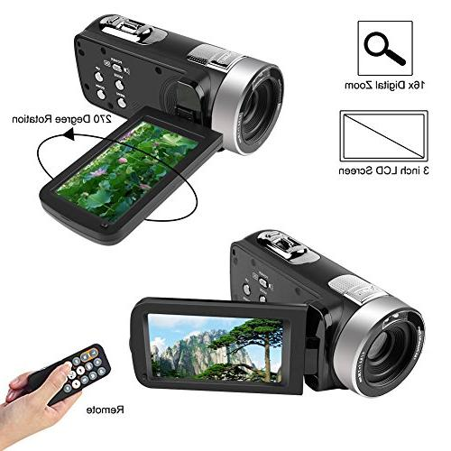 Camcorder HD Camera Inch 270 Degree Rotatable Recorder Pause