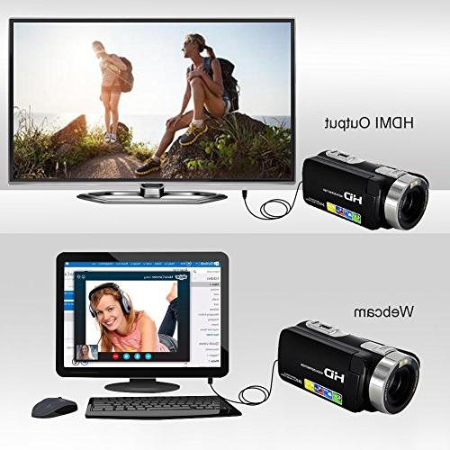 Camcorder Video Full HD 1080p Digital Camera Degree Rotatable Screen Video Recorder Pause Function…