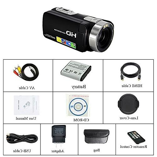 Camcorder Video HD 1080p Digital Camera Degree Screen Recorder