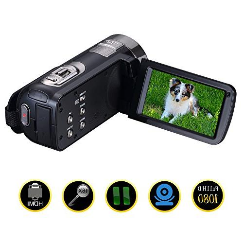camcorder rotatable recorder pause function