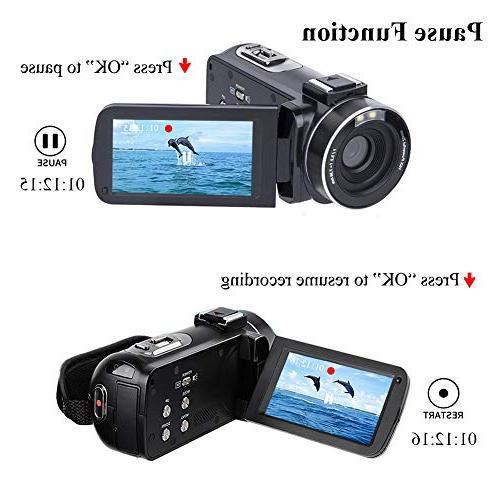 Video Camcorder HD 24.0MP Camera 270 Degrees 16X Digital Zoom Camera Recorder Batteries
