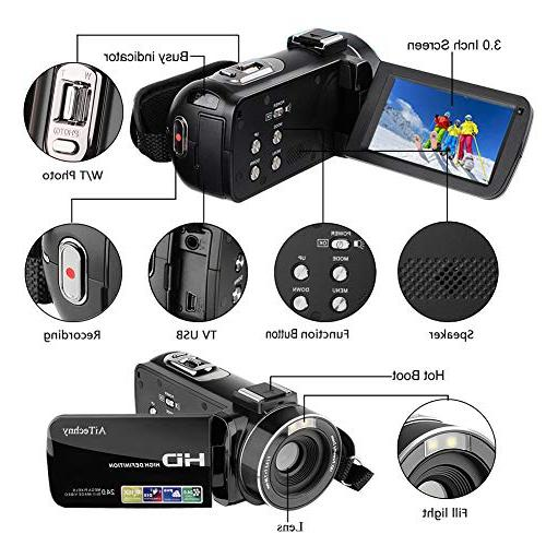 Video HD Digital Camera inch 270 Degrees Rotatable 16X Zoom Recorder Batteries