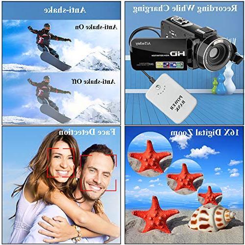 Video Camera HD Camera 3.0 inch 270 Degrees Rotatable 16X Digital Zoom Camera Recorder