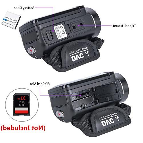 Video Camera HD Inch LCD Rotatable Screen Zoom 2 Batteries