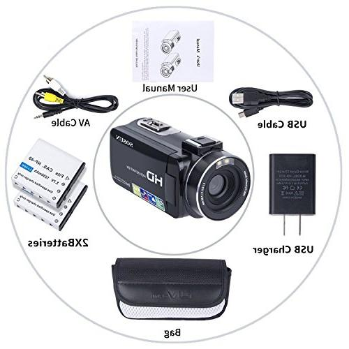 Video Camcorder HD 24.0MP 3.0 Rotatable Zoom Recorder and
