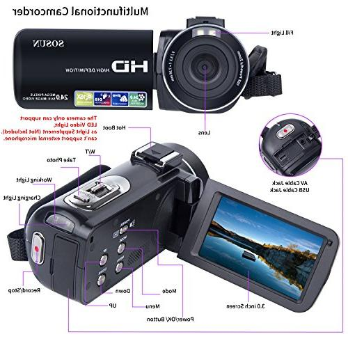 HD Inch Rotatable Screen 16X Digital Zoom 2 Batteries