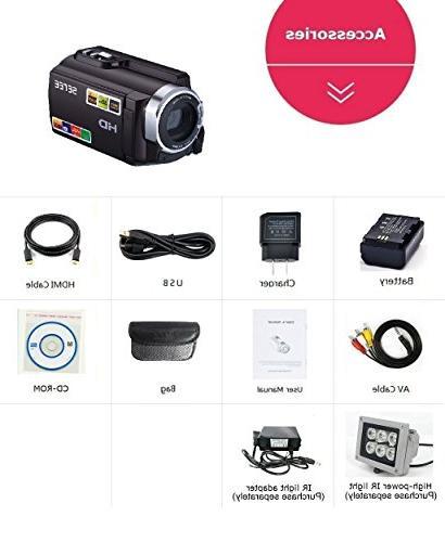 SEREE Camcorder Camera 1080P 30FPS Night Vision 16X 3 Inch