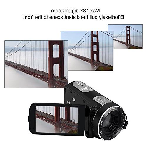 """Video Camcorder Full 1080p Digital 18x Digital 2.7"""" LCD With Control"""