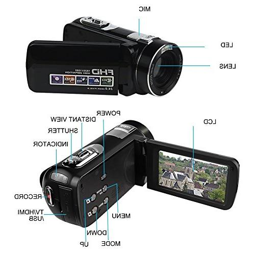 Video Full HD 1080p Camera 18x LCD 270° With