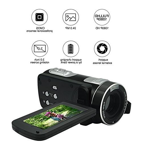 Video Camcorder 1080p Digital Camera 18x Zoom LCD 270° Screen With Remote