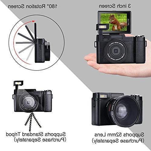 Digital Camera SEREE Camcorder Full Megapixels 4x Zoom Retractable 3 Inch Screen