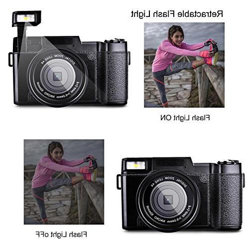 Digital Camera Full HD Megapixels 4x Digital Zoom Retractable Flash 3 Inch