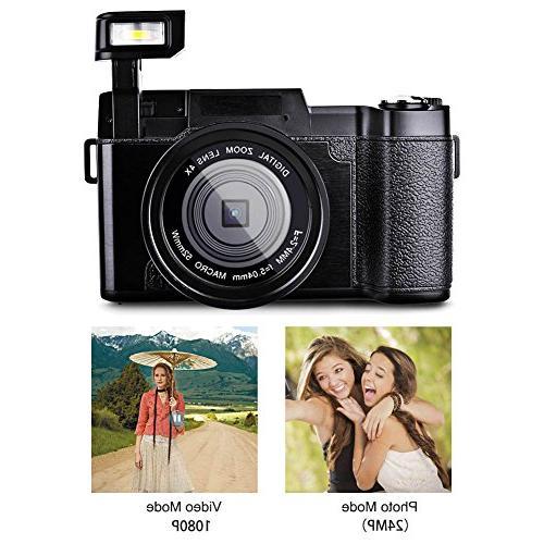 Digital SEREE Full HD 1080P 24.0 Megapixels 4x Digital Retractable Flash light Inch