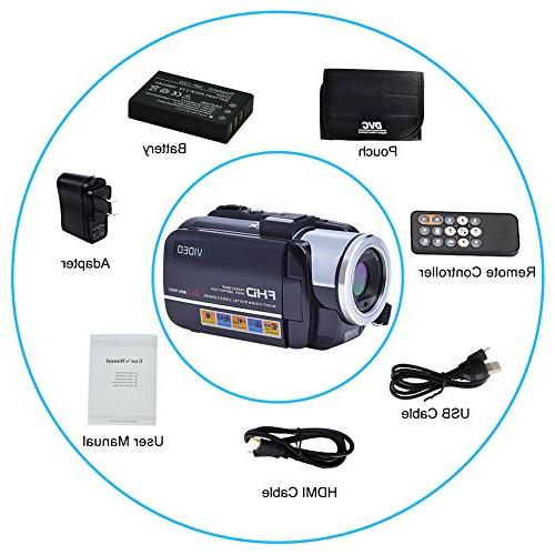 SEREE Camcorders FHD 24.0 Portable Digital Video Camcorder Camera Zoom