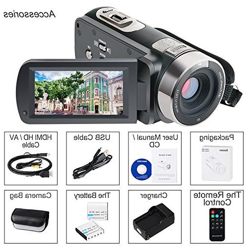Besteker Camcorder Night Vision 16X Zoom 24MP Portable Video