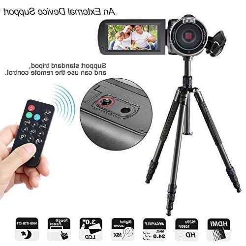 Besteker Camcorder 1080P IR Night Zoom 24MP Portable Digital