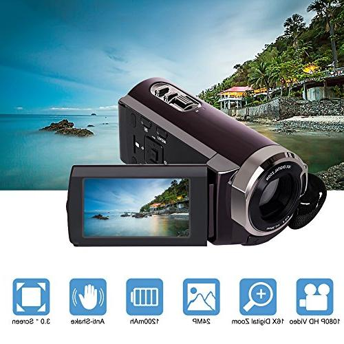 Camorder Camera Full HD Video Recorder Zoom 3 Touch Screen Dual Memory