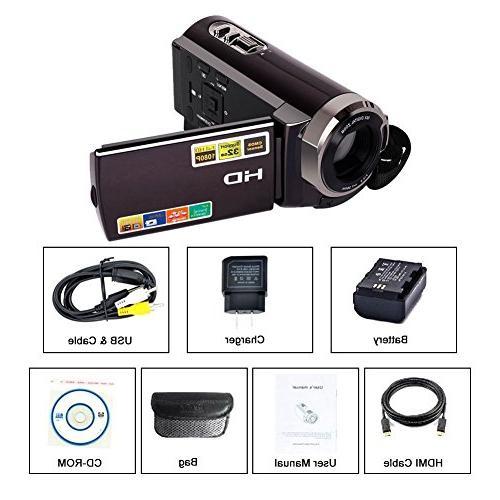 Camorder SEREE Full HD 1080p Digital Video Zoom Screen Dual Memory