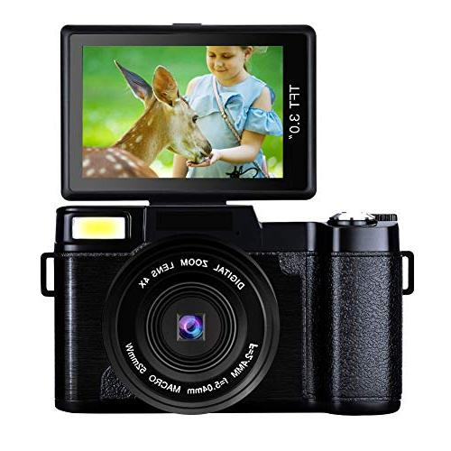 Digital Camera Camcorders Vlogging Full HD Retractable Flash Light UV