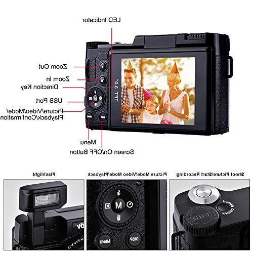 Camcorders Camera Full HD 1080p 24MP Retractable Flash Light