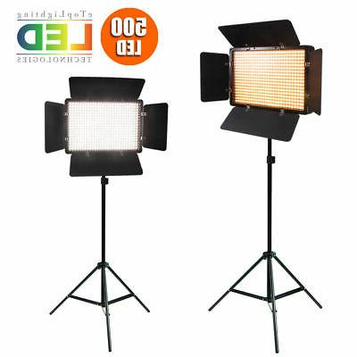 2X500 LED Studio Video Continuous Light Lamp For Camera Camc