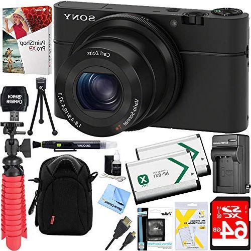 Sony Cyber-Shot DSC-RX100 Digital Camera + 64GB Dual Battery