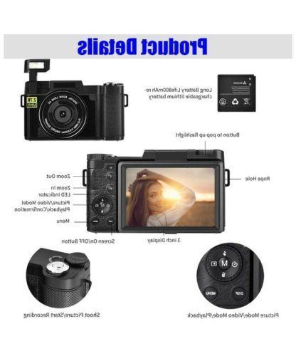 Digital Camera 30MP Vlog Flip Screen