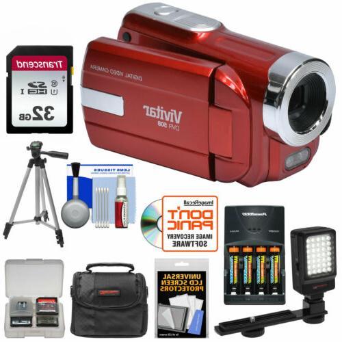 Vivitar DVR-508 HD Digital Video Camera Camcorder Kit Red