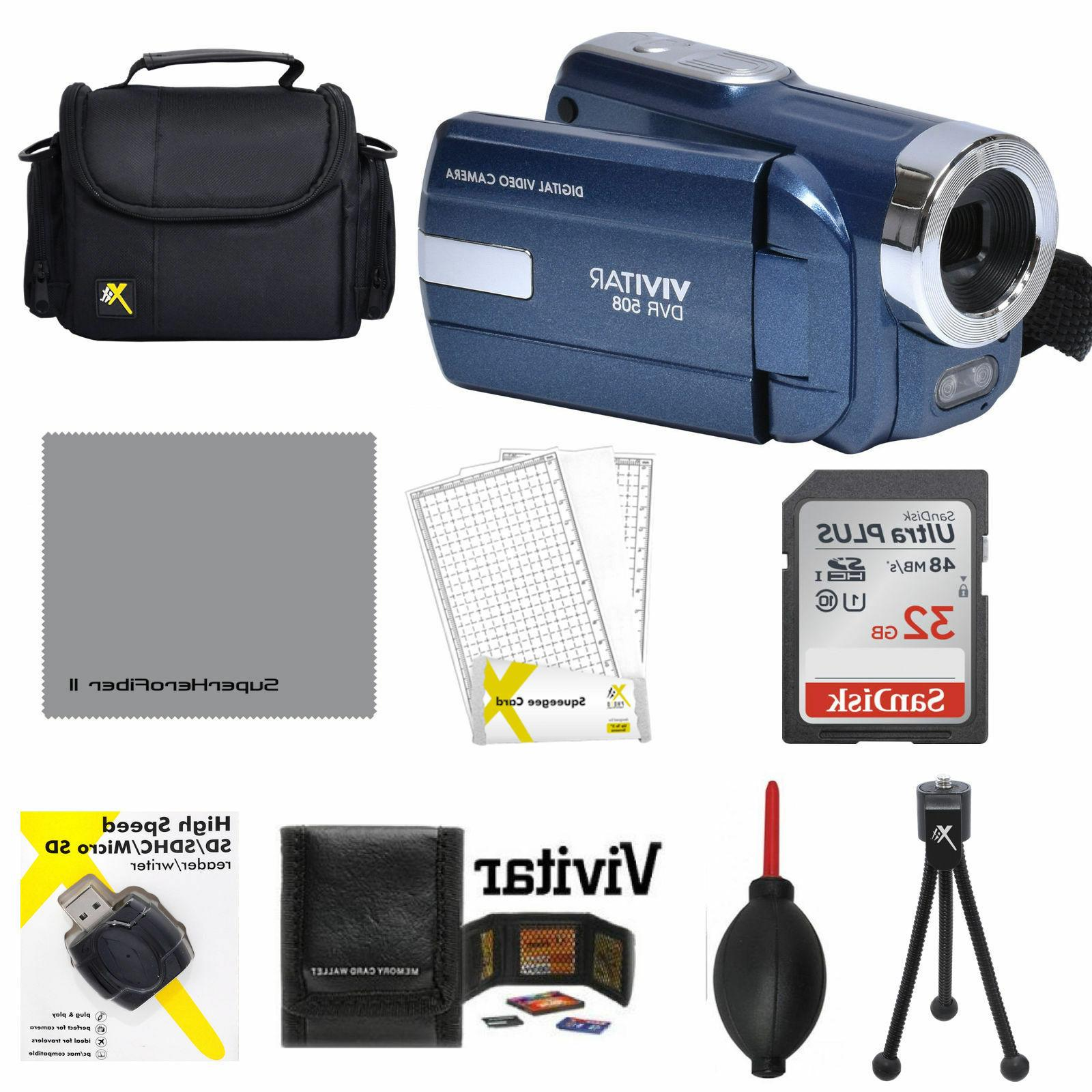 Vivitar DVR-508 Video Camcorder 32GB Card + Kit