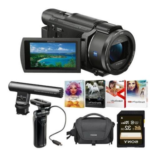 fdr ax53 b 4k camcorder with grip