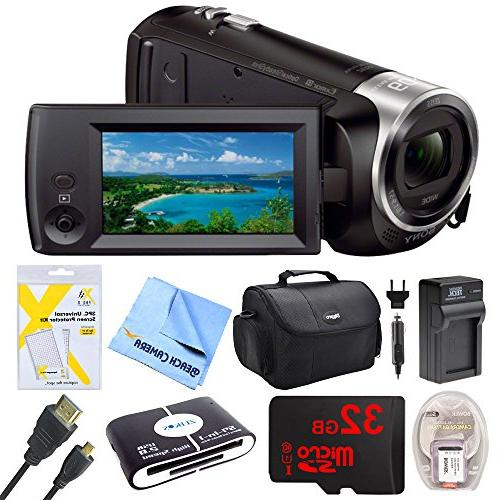 Sony HDR-CX405 Video Recording Handycam Bundle 32GB Mico AC/DC Battery Pack,