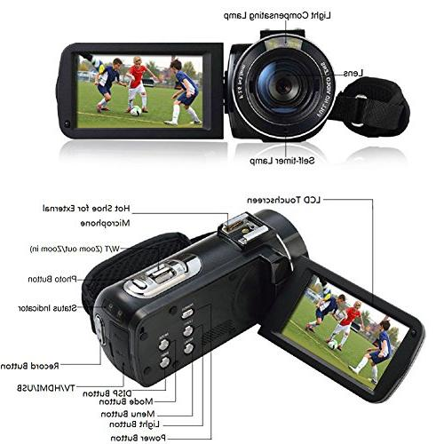 SEREE External FHD 1080p 24.0MP Screen 16X Digital Camera Video Recorder