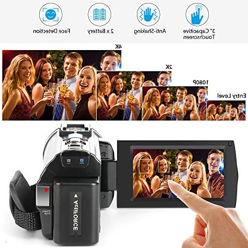 ACTITOP Camcorder, Video Wi-Fi Digital IR Night Vision IPS Travel Black