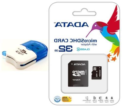 32GB Micro SD SDHC Card Tf Flash Memory Card Reader for Go P