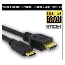 5 Foot Mini to Regular Gold Plated HDMI 1080p Cable For Sony